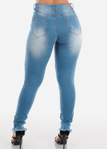 Image of Sexy 1 Button Distressed Ripped Raw Hem Light Wash Skinny Jeans For Women Ladies Junior