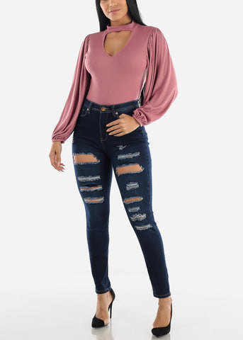 Image of Dark Wash High Rise Torn Skinny Jeans