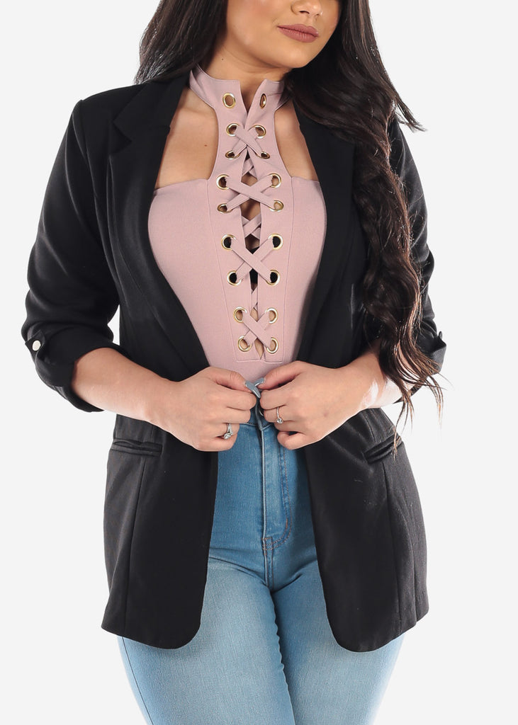 Classic Open Front Business Career Professional Wear Solid Black Blazer For Women Ladies Junior