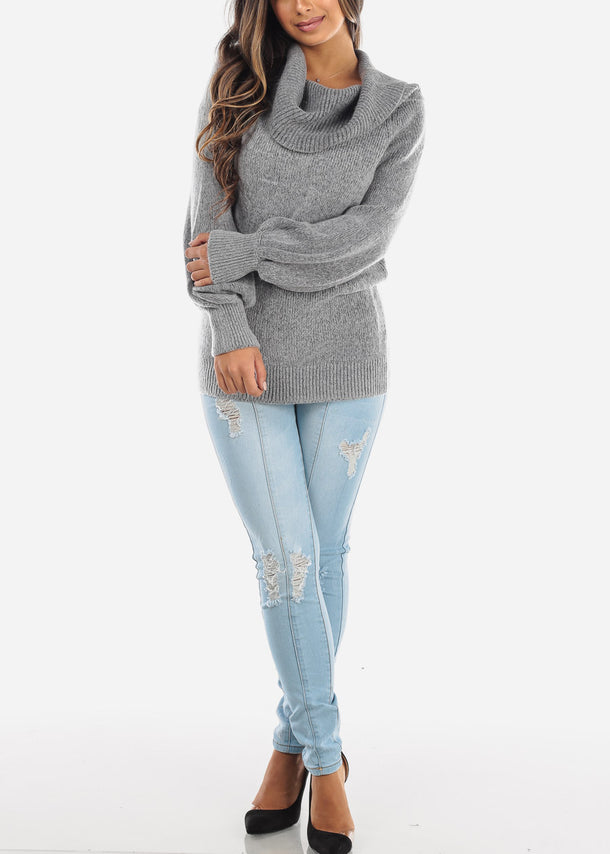 Off Shoulder Foldover Grey Sweater