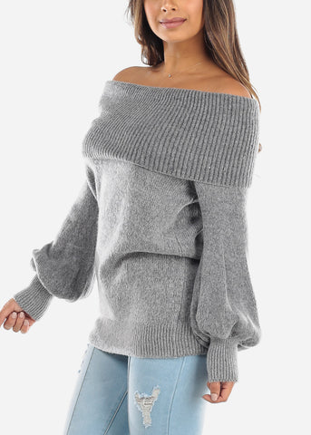 Image of Off Shoulder Foldover Grey Sweater BFT07776GRY