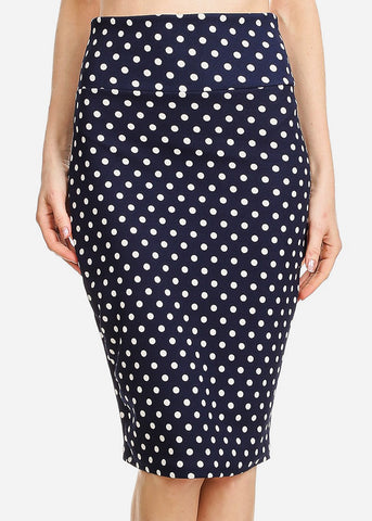 Image of High Waisted Navy Polka Dot Skirt