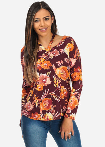 Image of Burgundy Floral Strappy Neckline Top