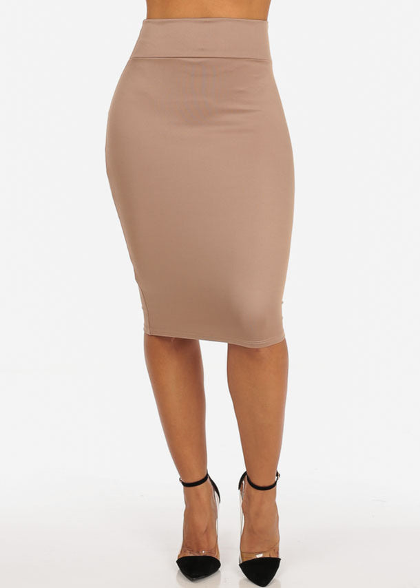 High Rise Khaki Pencil Skirt