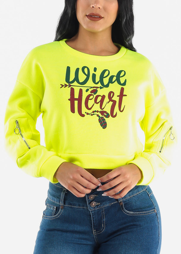 """Wild Heart"" Lime Crop Sweater"