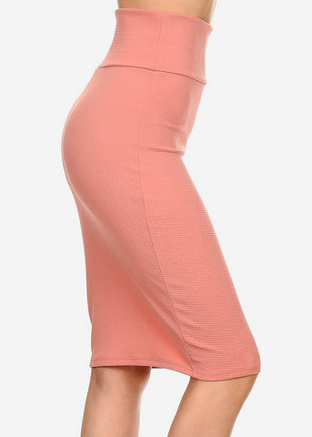 Image of Pink High Waisted Pencil Skirt