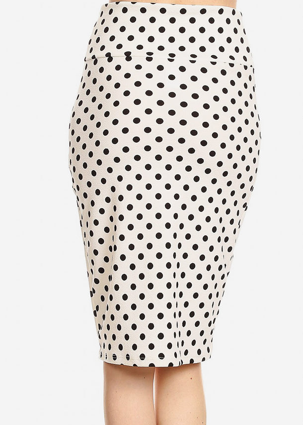 High Waisted White Polka Dot Skirt
