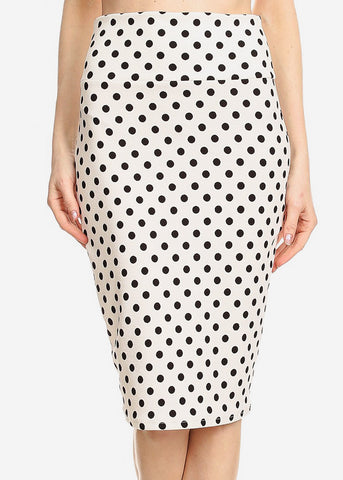 Image of High Waisted White Polka Dot Skirt