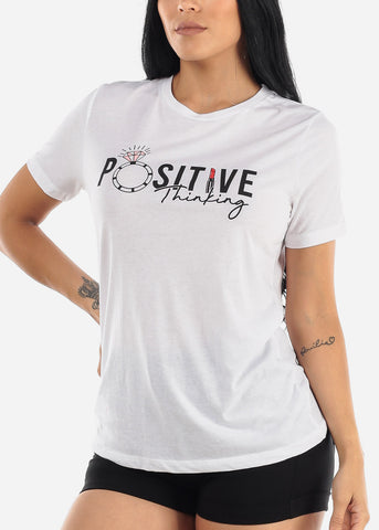 "White Graphic T-Shirt ""Positive Thinking"""