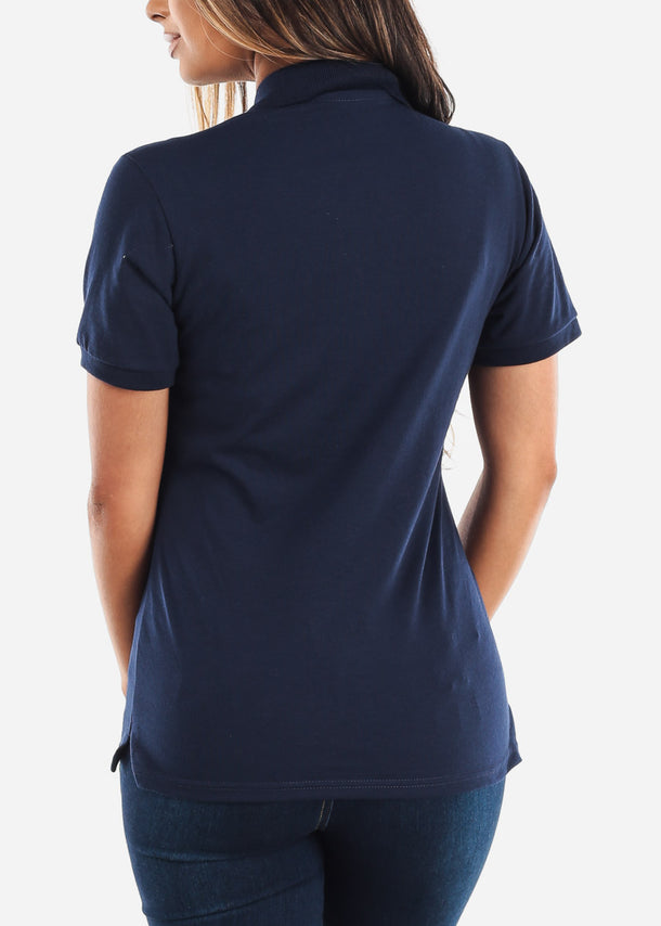 Women's Jerzees Navy Polo Shirt