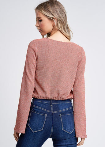 Drawstring Waist Rust Knit Top