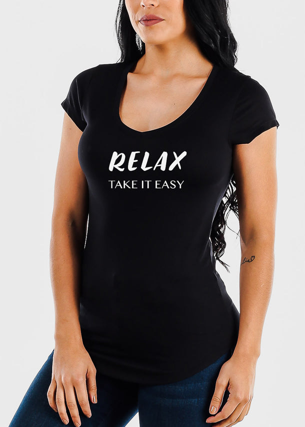 "Black Graphic Top ""Relax Take It Easy"""