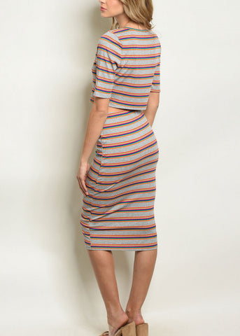 Multicolor Striped Top & Skirt (2 PCE SET)