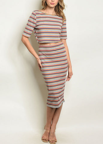 Image of Multicolor Striped Top & Skirt (2 PCE SET)