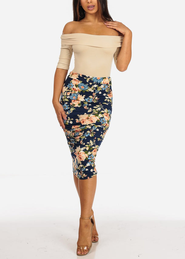 Navy Floral Print Ruched Skirt