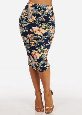 Image of Navy Floral Print Ruched Sides Midi Skirt