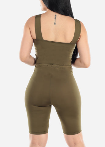 Image of Olive Crop Top & Bermuda Shorts (2 PCE SET)