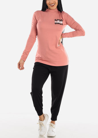 """Good Vibes Only"" Turtle Neck Pink Top"