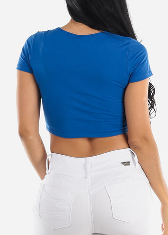 "Blue Graphic Crop Top ""Dolce & Banana"""