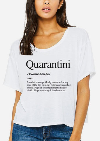 "White Cropped Graphic Tee ""Quarantini"""