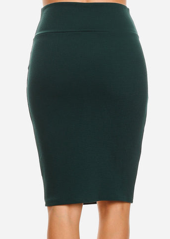High Waisted Dark Green Pencil Skirt