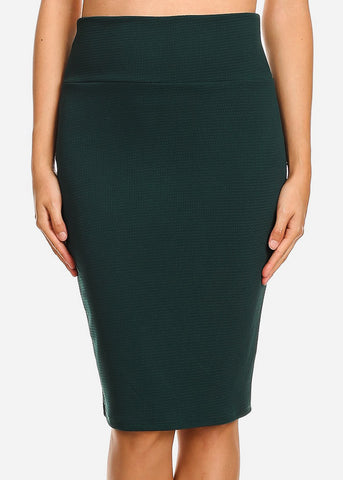 Image of High Waisted Dark Green Pencil Skirt
