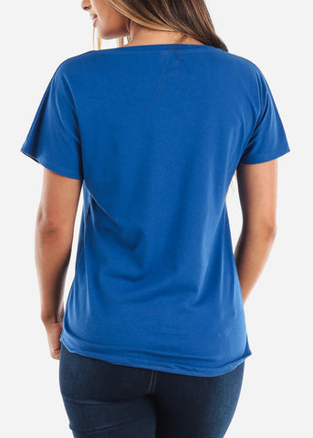 Image of Scoop Neck Dolman Light Royal Blue Tshirt
