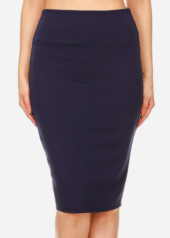 Image of Navy High Waisted Pencil Skirt