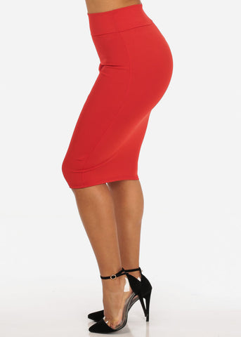 Office Business Career Wear Going Out Sexy High Waisted Pencil Midi Coral Skirt