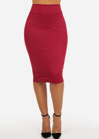 Image of Office Business Career Wear Going Out Sexy High Waisted Pencil Midi Burgundy Skirt
