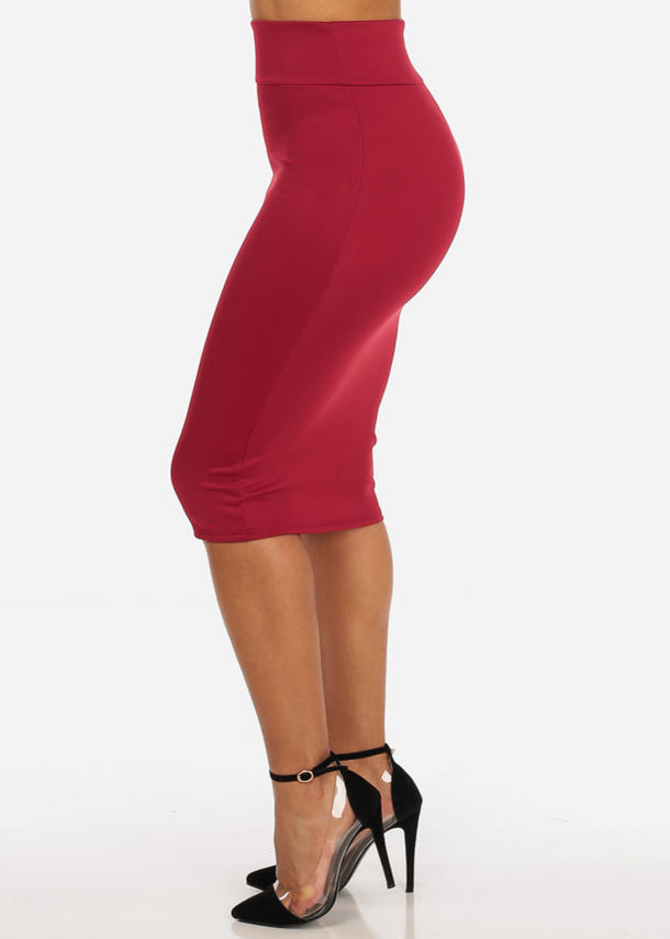 High Rise Burgundy Pencil Skirt
