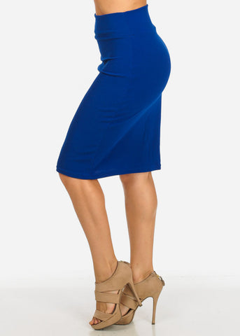 Royal Blue Knee Length Skirt