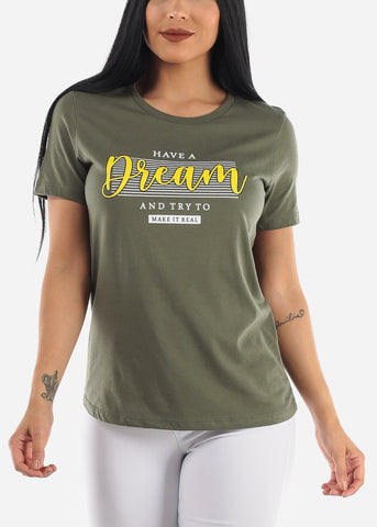"""Have A Dream"" Olive Top"