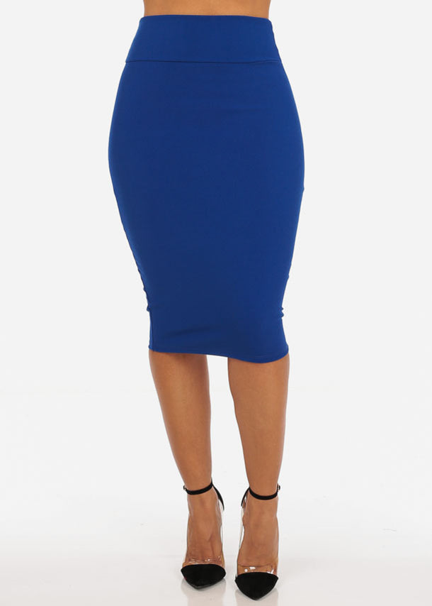 High Rise Royal Blue Pencil Skirt