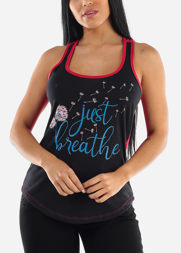 """Just Breathe"" Black & Red Tank Top"