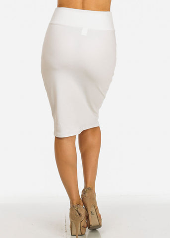 White Bodycon Knee Length Skirt