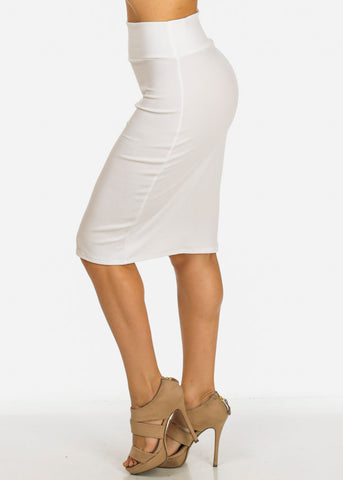 Image of White Bodycon Knee Length Skirt