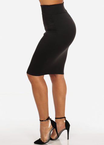 Office Business Career Wear Going Out Sexy High Waisted Pencil Midi Black Skirt