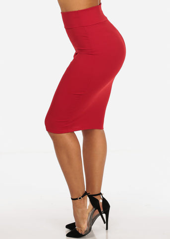 Image of Office Business Career Wear Going Out Sexy High Waisted Pencil Midi Red Skirt