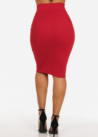 Office Business Career Wear Going Out Sexy High Waisted Pencil Midi Red Skirt