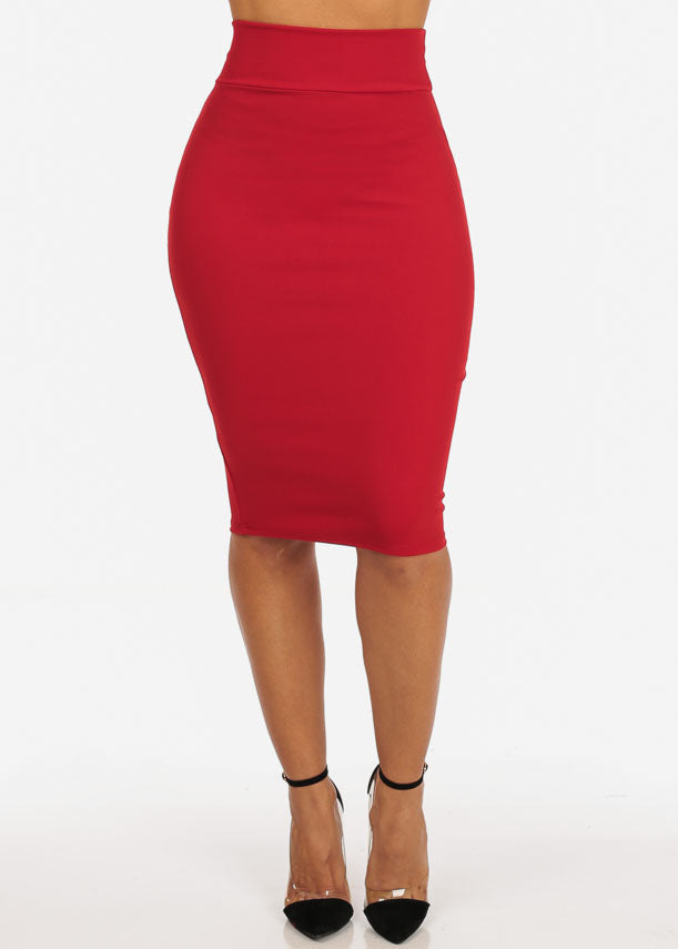 3251b623a9 Office Business Career Wear Going Out Sexy High Waisted Pencil Midi Red  Skirt