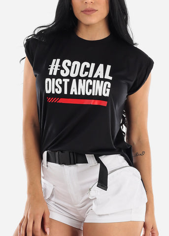 "Black Graphic Top ""Social Distancing"""