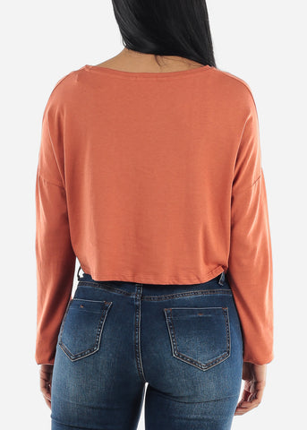 """Sunday Is For Snuggles"" Orange Top"