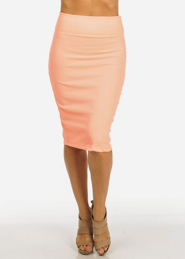 Pink Bodycon Knee Length Skirt