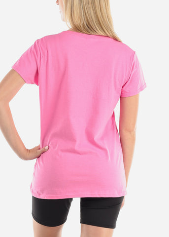 Image of Women's Junior Ladies Casual Going Out Be A Nice Human Graphic Print Short Sleeve Pink T Shirt