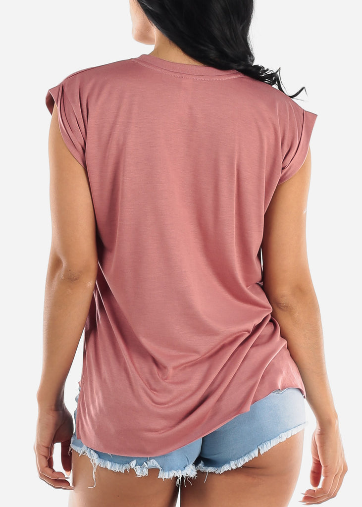 "Mauve Graphic Top ""Faith"""
