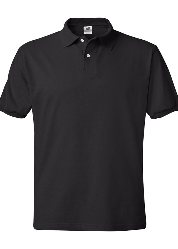 Men's Hanes Ecosmart 50/50 Jersey Sport Shirt Black Polo