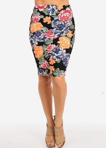 Black Floral Pencil Skirt