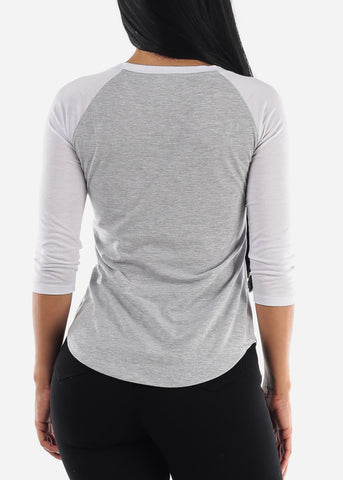 """Feeling Good"" Raglan Grey Top"