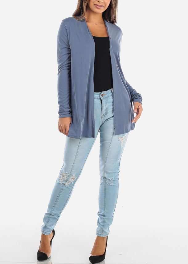 Blue Open Front Cardigan with Pockets